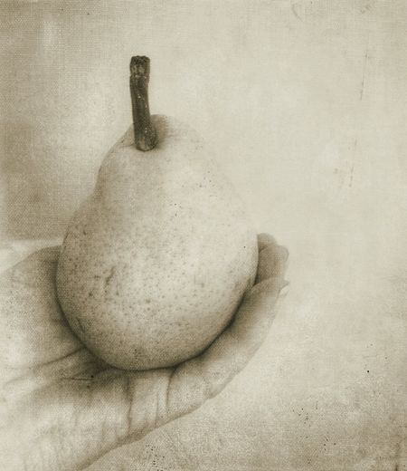 Hand Holding Pear Fruit Holding Up Holding In Hand Hand Pear Fruit Artistic Edit Artistic Photo Still Life Indoors  High Angle View No People Textured  Table Close-up Food Creativity Simplicity Art And Craft Food And Drink Nature Healthy Eating