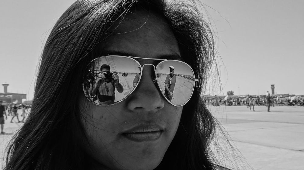 Black & White Blackandwhite Casual Clothing Close-up Confidence  Day Eyeglasses  Focus On Foreground Front View Headshot Human Face Leisure Activity Lifestyles Outdoors Person Portrait Sister Smiling Sunglasses Young Adult