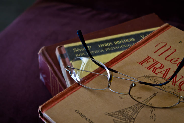 Books With Glasses On Table