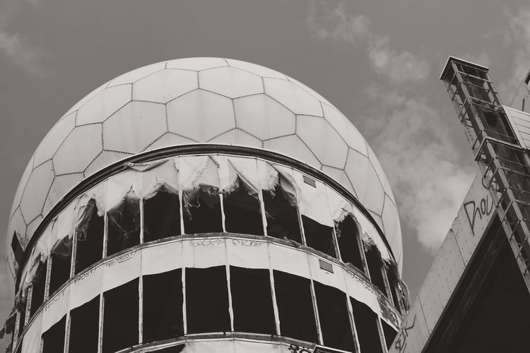Low angle view of teufelsberg against sky