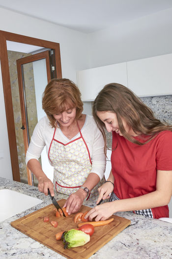 Mother and her teenage daughter are cooking together in the kitchen, prepare a salad. Vegan Family. Apron Cooking Family Happy Helping Home Lifestyle Love Mother Salad Vegetarian Daughter Food Girl Healthy Indoors  Kitchen Mom People Teen Teenager Vegan Vegan Food Vegetable Young Adult