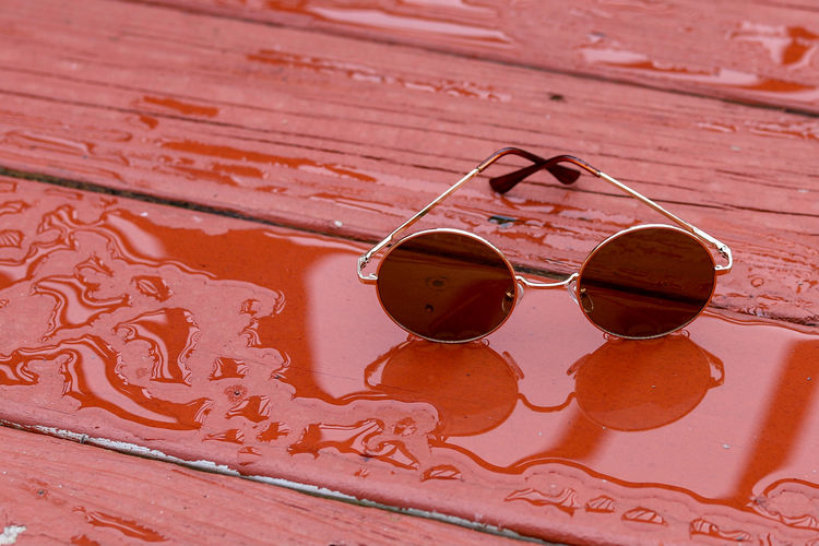 High angle view of sunglasses on table
