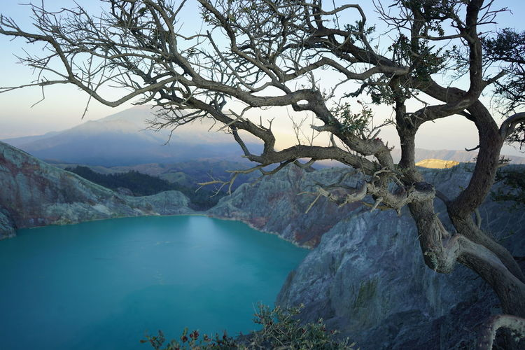 Scenic View Of Lake By Tree Mountain Against Sky