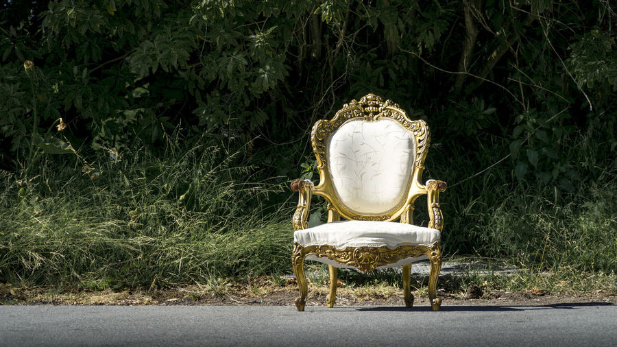 Empty White Armchair On Road Against Plants