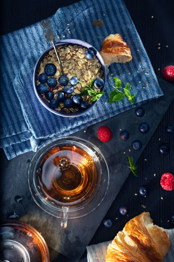 High angle view of beer in glass on table