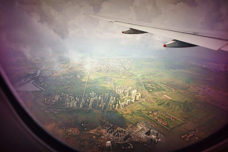 Airplane Flying Journey Aerial View Travel Aircraft Wing Window Landscape No People Cloud - Sky
