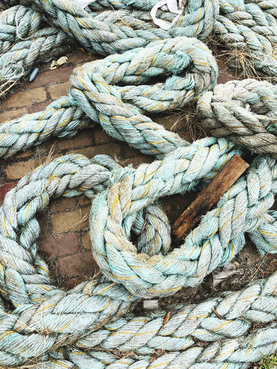 High angle view of rope on footpath