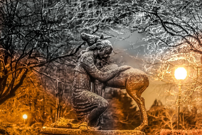 The Virgin and the Unicorn Monument Park Statue Wintertime Snow Unicorn Virgin  Nygårdsparken Bergen,Norway Ig_europe Tpsolympus Photooftheday