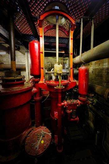 Crossness Pumping Station Red Indoors  Architecture No People Built Structure Place Of Worship Metal