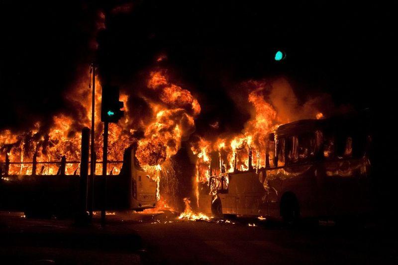 Brazil Burning Protest Bonfire Burning Bus Destruction Fire Flame National Strike Night No People Outdoors Riot Sky