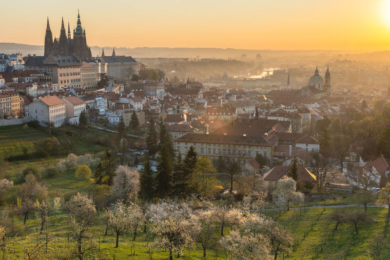 High angle shot of prague townscape against sky at sunrise