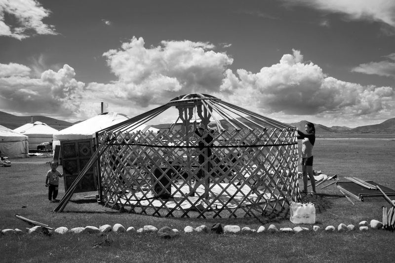 Architecture Construction Mongolia Black And White Building Exterior Cloud - Sky Day Land Landscape Mountain Mountain Range Nature Nomadic Nomadic Life Outdoors Real People Sky Steppe Yurt Монгол улс гэр