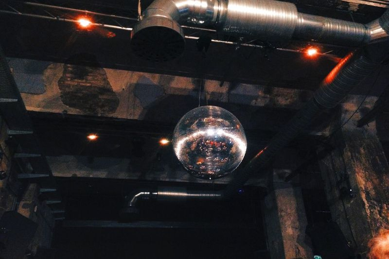 Illuminated Lighting Equipment Nightclub Indoors  Hanging Night Arts Culture And Entertainment Nightlife Built Structure Low Angle View No People Architecture Spotlight Disco Ball Disco Balls Berlin EyeEmNewHere Mix Yourself A Good Time