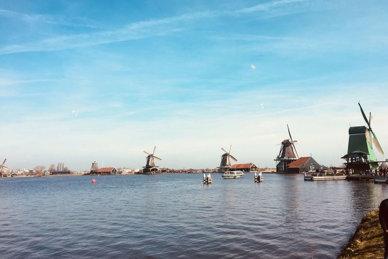 Windmill Dutch Windmills Nostalgie Dutch Dreamscapes Dutch Culture Water Sky Architecture Nautical Vessel Transportation Waterfront Built Structure Mode Of Transportation Nature No People River Building Exterior Day Cloud - Sky Outdoors