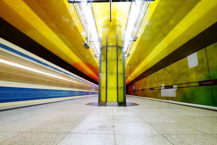 Transportation Illuminated Architecture Ceiling Yellow Built Structure Underground Architectural Column Indoors  Subway Station Rail Transportation No People Long Exposure Public Transportation Day City Futuristic Tunnel Blurred Motion Motion