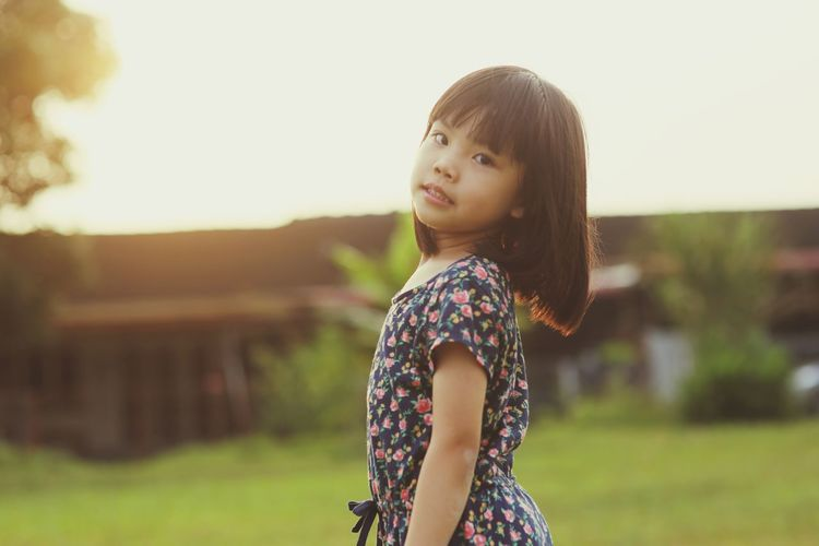 EyeEm Selects Child Portrait Childhood Girls Standing Smiling Tree Long Hair Bangs Brown Hair Preschooler