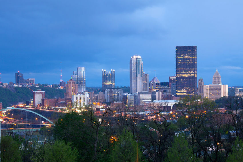 Pittsburgh skyline from Oakland neighborhood, Pennsylvania, USA Lights Oakland Pennsylvania Pittsburgh Schenley Park Skyline Trees USA Architecture Building City Cityscape Cloud - Sky Dawn Financial District  Illuminated Nature Neighborhood Night Office Building Exterior Park Tall - High