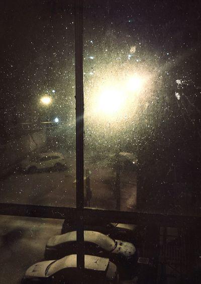 Cold Night. Snow Windows