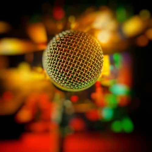 Close-up Microphone Selective Focus Stage Music Singing Extreme Close Up Cozy Cozy Place Warm Warm Colors Indoors