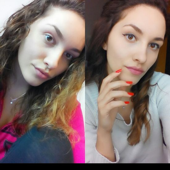 Before After Make Up Young Women