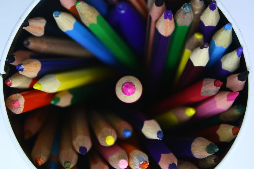 Crayons Different Colors Stay Focused Art And Craft Close-up Colored Pencil Colorful Coloring Pens Crayon Day Directly Above Indoors  Large Group Of Objects Multi Colored No People Right In The Middle Stationery Stationery Items