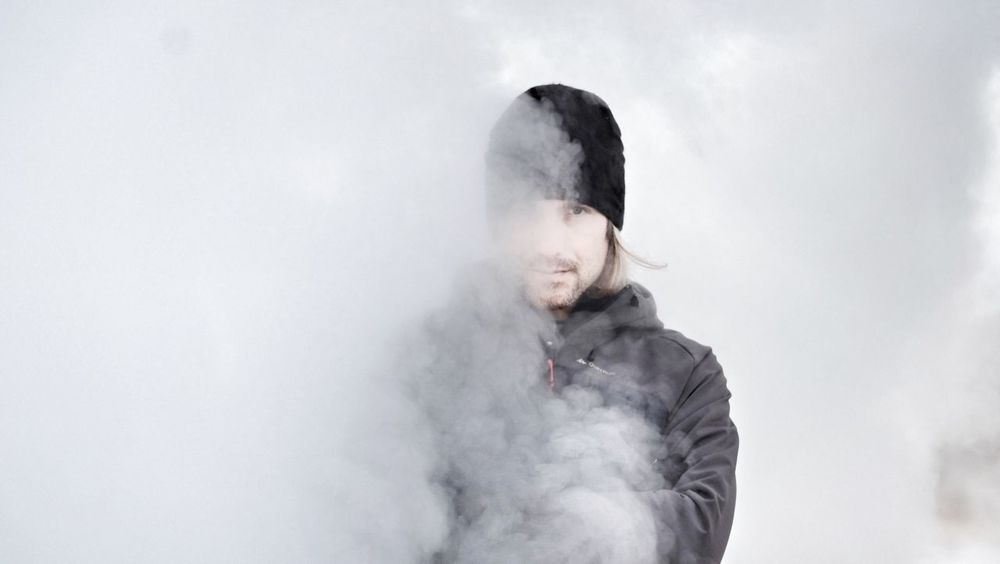 Smoke me. Geyser Iceland Cold Smoke One Person Front View Lost In The Landscape