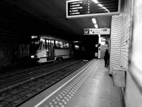 Tram Public Transportation Rail Transportation Railroad Station Platform Subway Station Bruxellesmabelle Bruxelles ❤ City Life Black And White Nostalgic Place