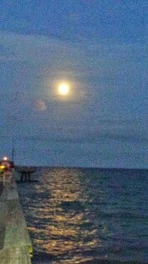 Angelic glow.... Moon Mooonlight Ocean Florida Clouds And Sky