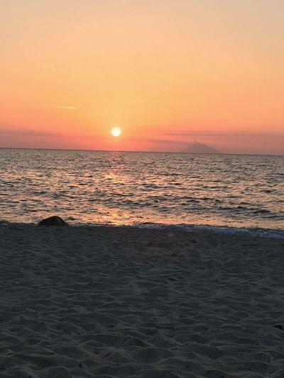Wave Day Sunset Tranquil Scene Volcano Horizon Over Water