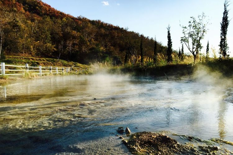 Steam from hot springs at pai