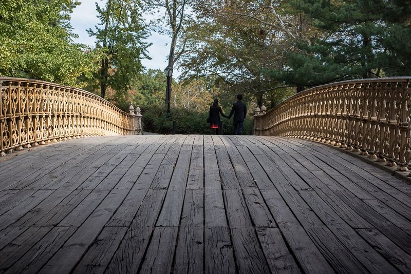 Lovers in central park New York City Two Adult Loving Lovers Central Park Tree Railing Outdoors Travel Destinations People Day Adult Women Nature