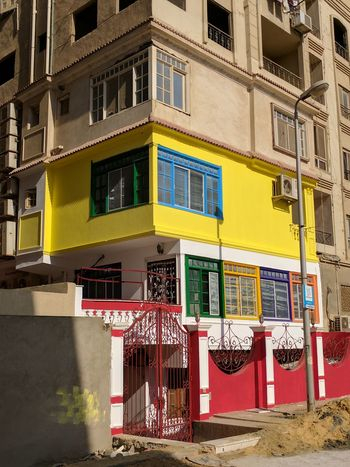 Building Exterior Day Maadi No People Outdoors Red Window Windows Yellow