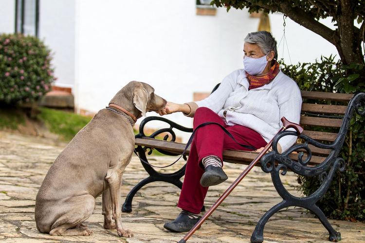 Man with dog sitting on seat