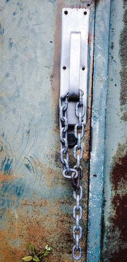 Locked out. Chain Door Backgrounds Full Frame Textured  Pattern Close-up Architecture Built Structure Weathered Worn Out Deterioration Decline Run-down Abandoned Bad Condition Damaged Discarded Painted Hinge Latch Peeled Closed Door Closed Wilted Broken Entryway Rusty Door Handle Locked The Mobile Photographer - 2019 EyeEm Awards