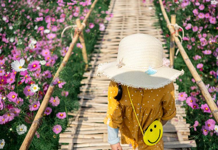 Japan childen stand on the wooden bridge in the bloom garden violet flower