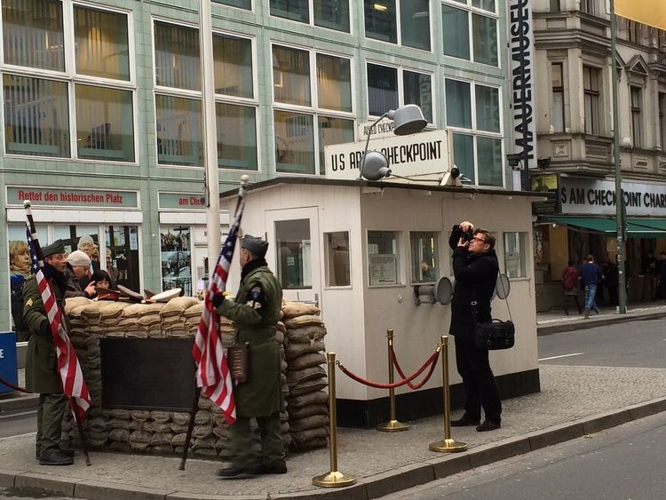 Berlin Street Streetphotography Friedrichstrasse Checkpointcharlie Us Military Berlin Wall 2016 February IPhoneography City Street City Life City Monument Germany🇩🇪 Outdoors The Street Photographer The Street Photographer - 2017 EyeEm Awards