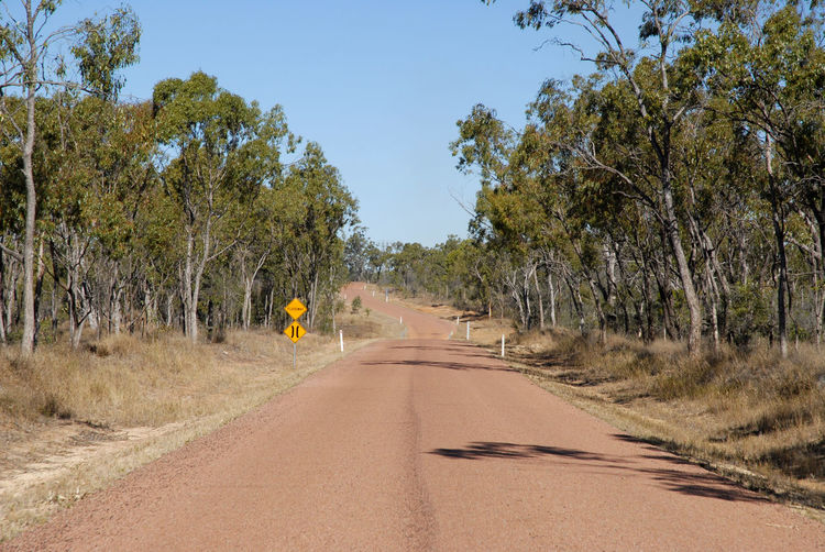 Outback road  with narrows and floodway warning signs, near charters towers, queensland, australia