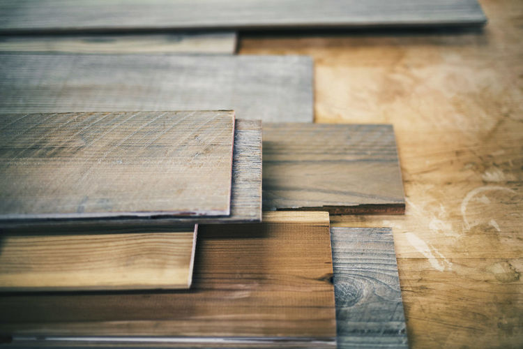 High angle view of wooden planks on floor
