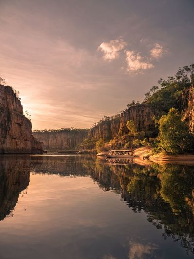 Northern Territory Outback Outback Australia Outbackaustralia Australia Katherine Gorge Reflection Water Tranquil Scene Beauty In Nature Scenics Sky Nature No People Lake Tranquility Waterfront Tree Outdoors Day