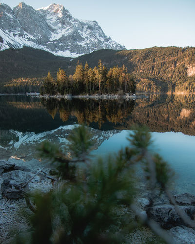 Beautiful Sunrise at Eibsee, Garmisch-Patenkirchen, Germany Eibsee Sunrise_Collection Water Reflections Bayern Bergsee Blue Sky crystal clear Grainau Lake Eibsee Landscape Mountain Lake Mountain Landscape Mountains Relfection Sunrise Warm Warm Light EyeEmNewHere My Best Photo