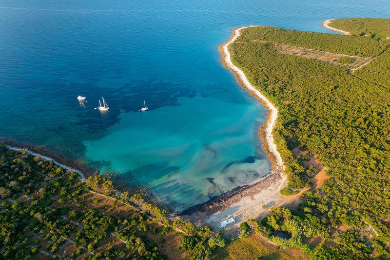 Aerial view of the parzine beach on ilovik island, croatia