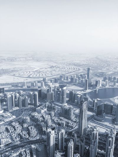 Aerial View Of Snow Covered Cityscape During Winter