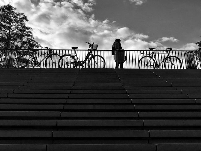 Châtelet Les Halles Paris Bikes 😀 Paris France Stairs Steps Silhouette Sky Cloud - Sky Day Blackandwhite Bnw City Moments Streetphotography Outofthephone Mobilephotography EyeEm IPhoneography Iphoneonly Moment Tourist Attraction  IPhoneography