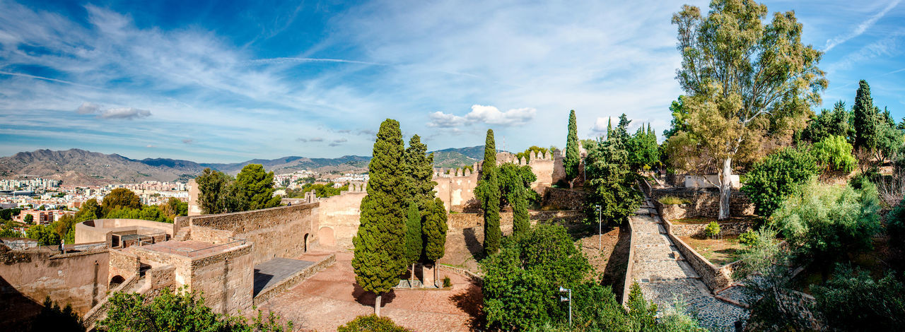Gibralfaro fortress (Alcazaba de Malaga). Malaga city. Spain Above Alcazaba De Malaga Ancient Architecture Andalucía Arabic Architecture Citadel Defensive Fortification Fortress Gibralfaro Castle Heritage Historic Building Malaga Monument Moorish Architecture Nobody Old Architecture Palace Panorama Panoramic SPAIN Sunny Day Travel Destinations Trees UNESCO World Heritage Site