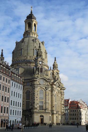 Dresden frauenkirche at neumarkt against sky