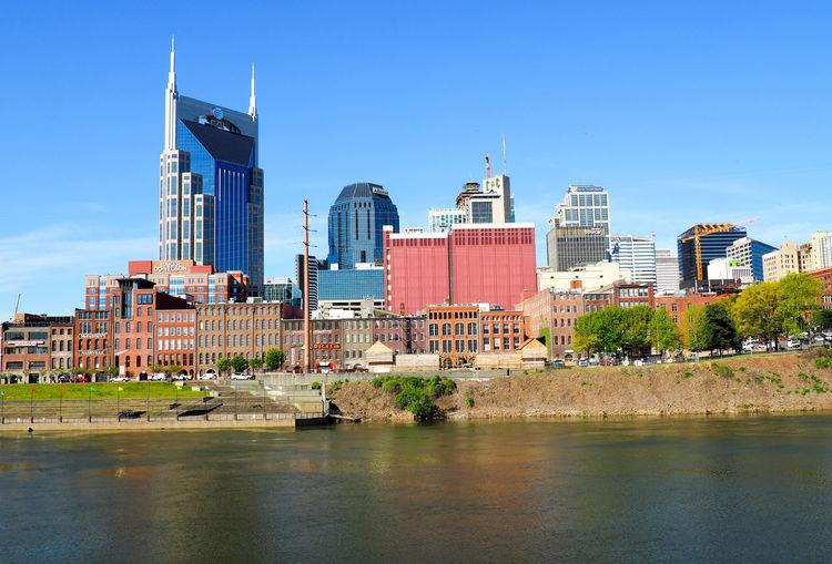 Nashville cityscape against clear sky