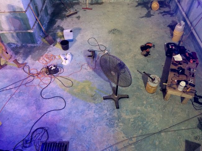 Colourful Day Empty Swimming Pool Fan High Angle View Indoors  No People Table Working Tools