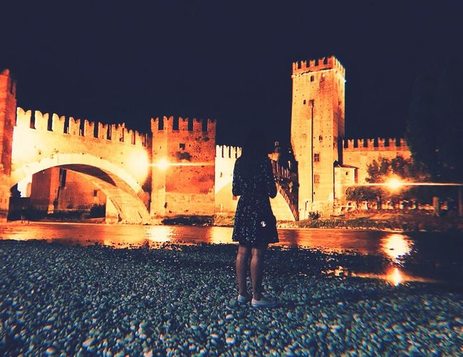 """Your sacred space is where you can find yourself again and again"" Summer Nights Verona Castle Italy River Built Structure Architecture Building Exterior Night Real People Illuminated City Women One Person First Eyeem Photo"