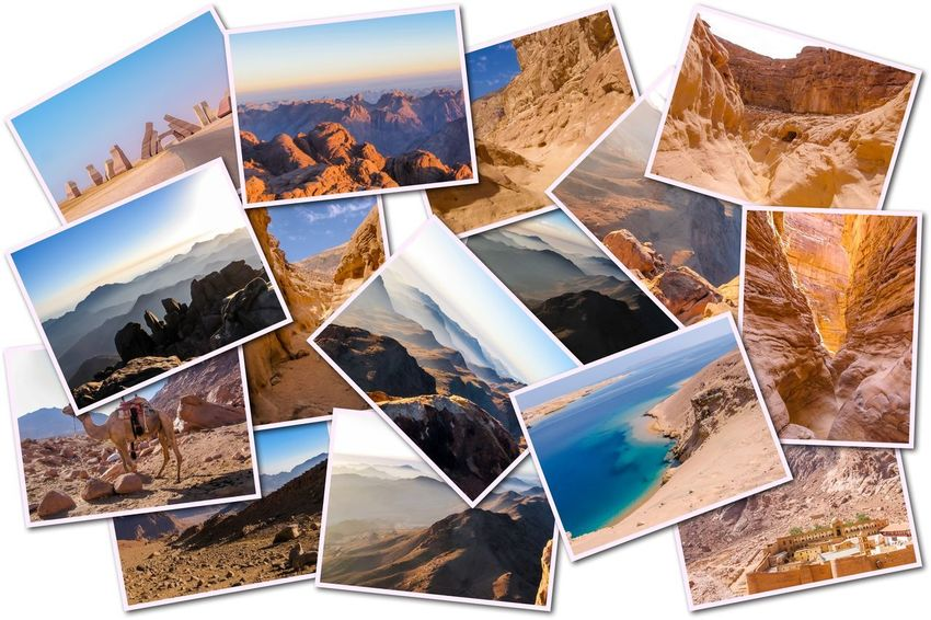 Egypt pictures collage of different famous locations landmark of Sinai Peninsula, Africa. Collage Collages Egypt Landmarks Ras Mohammed Sinai Peninsula Aerial View Allah Door Backgrounds Close-up Collage Day Desert Beauty Egyptian Isolated White Background Landmak Location Mountain No People Outdoors Photograph Photography Themes Sinai Sinai Egypt Travel Destinations