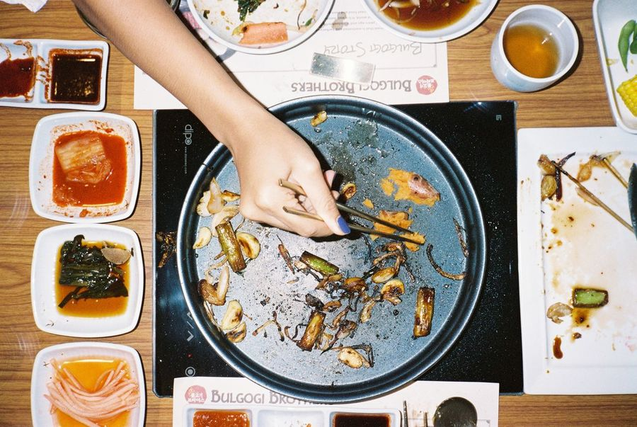 Adult Adults Only Eating Filmisnotdead Food Food And Drink Hot Plate Human Body Part Indoors  One Person One Woman Only Only Women People Portra400 Ready-to-eat